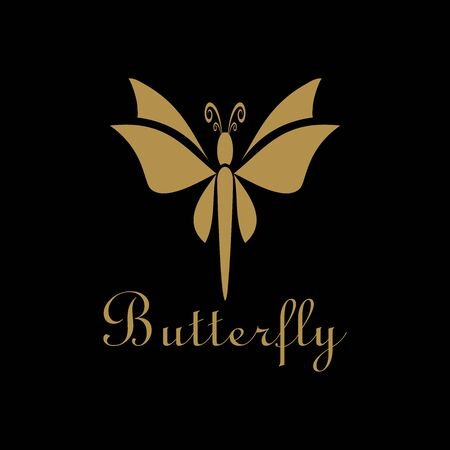 luxury butterfly logo unique design vector Ilustração