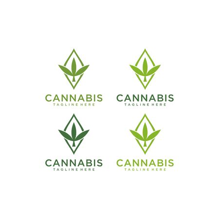 abstract marijuana, cannabis, ganja for cbd simple unique logo design