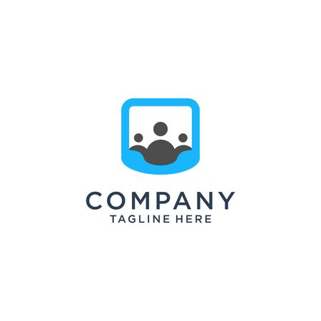 Communication logo design company Premium Vector