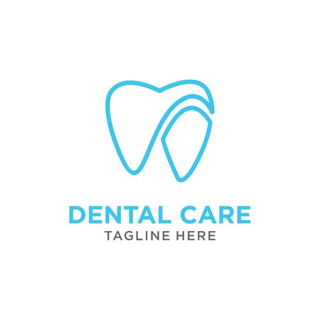 modern Creative dental care white love clean blue teeth logo vector Ilustração