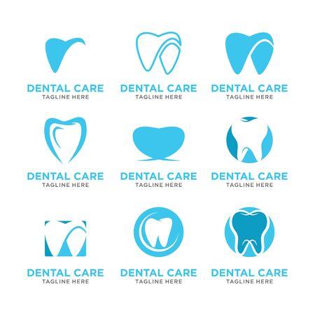 set modern Creative dental care clean blue teeth logo vector