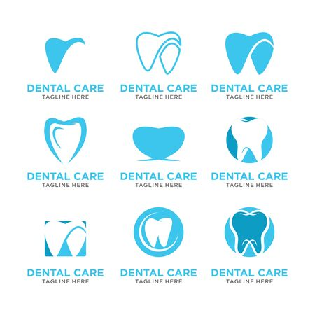 set modern Creative dental care clean blue teeth logo vector