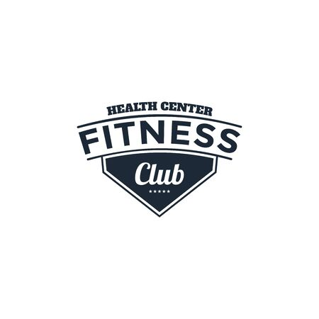 fitness badges with sport equipment and people. Labels in vintage style with sport silhouette symbols.