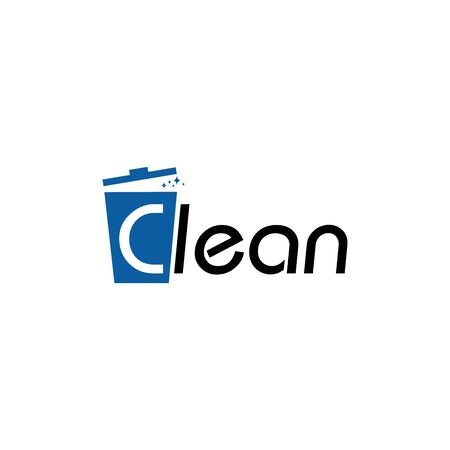 Illustration of trash bin logo design template vector
