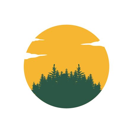 Evergreen, Pines, Spruce, Cedar trees logo design