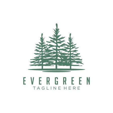 Evergreen, Pines, Spruce, Cedar trees logo design Stock Vector - 140815241
