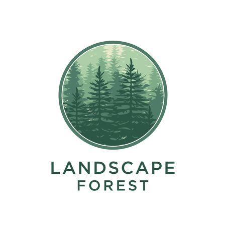 Evergreen, Pines, Spruce, Cedar trees logo design
