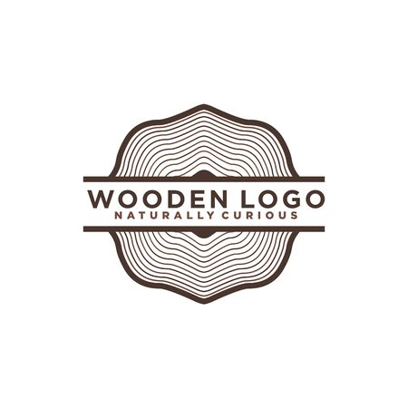 Wood icon or sawmill logo - black vector tree growth rings symbol or sign Logo