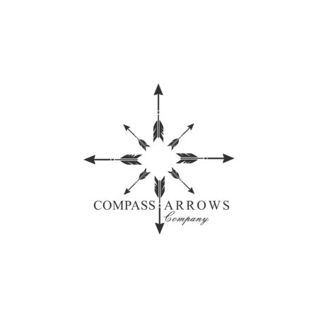 Crossed Arrows Retro Rustic Hipster Stamp Logo Design Royalty Free