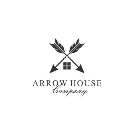 Simple Luxury Crossed arrows for House Estate business logo design