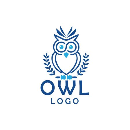 owl with line art logo design vector Illustration