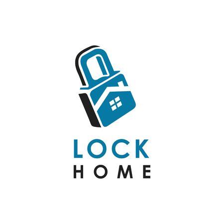 lock home logo design vector