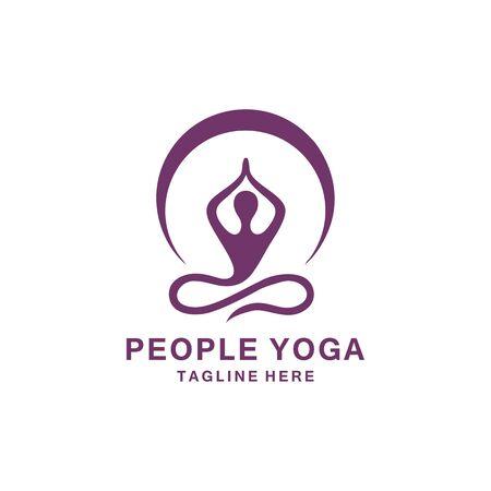 people yoga logo design vector