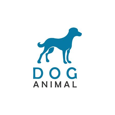 animal dog standing logo design vector Illustration
