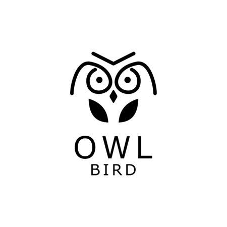 owl with line art logo design vector Ilustração