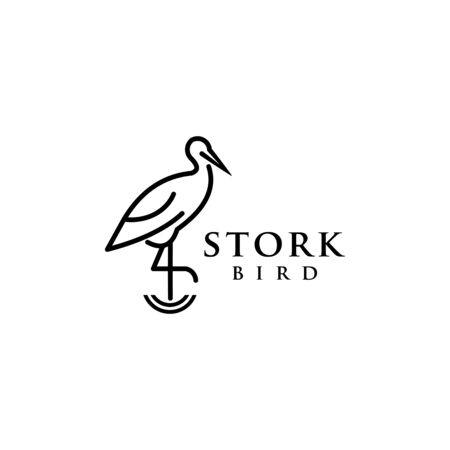 stork bird logo design vector