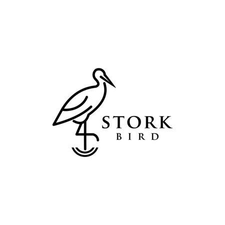 stork bird logo design vector