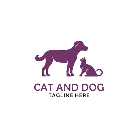 cat and dog logo design vector