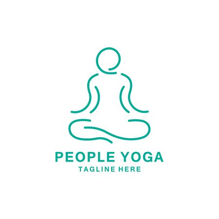 people yoga logo design vector