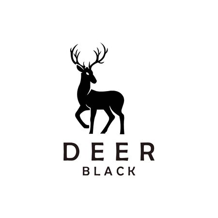 deer hunter emblem logo design vector