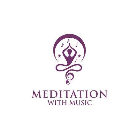 meditation with music logo design vector Illustration