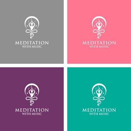 meditation with music logo design vector Ilustração