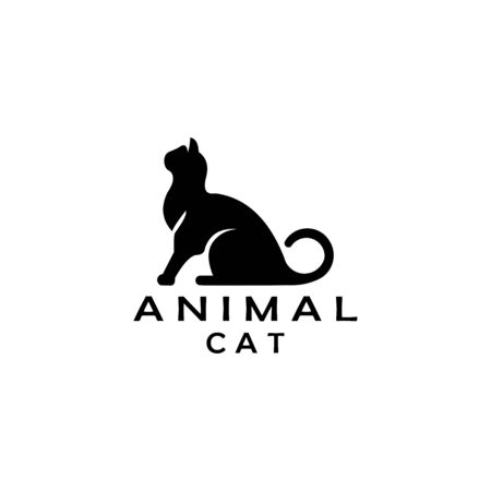cat sitting logo design vector