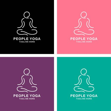 people yoga meditation logo design vector