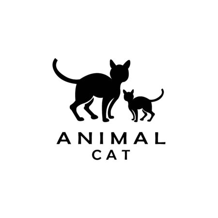 cat standing logo design vector