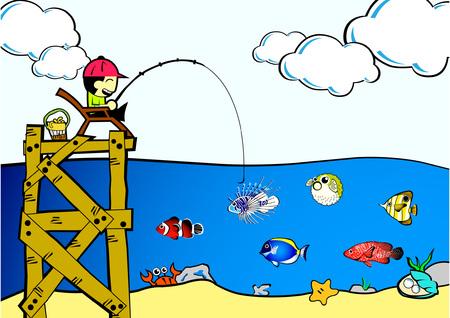 Boy Fishing Vector Illustration Illustration