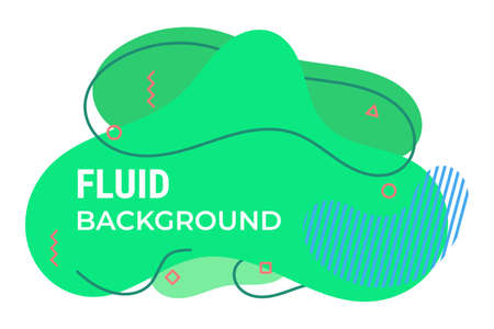 Green fluid background with nice outlines, square, and circles. suitable for web, cover, banner, presentation, etc. Vector Illustratie