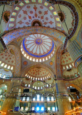 Inside the Blue mosque in Istanbul, Turkey