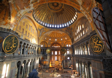 hagia sophia: Interior of the Hagia Sophia in Istanbul, Turkey