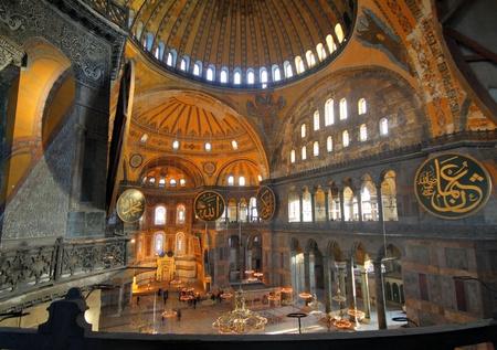 Intérieur de la basilique Sainte-Sophie à Istanbul, Turquie