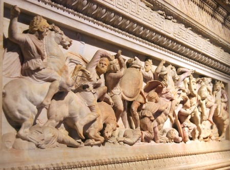 alexander great: Great Alexanders Sarcophagus Detail, Istanbul  Stock Photo