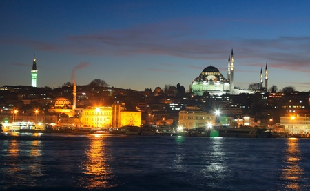 suleymaniye: Beyazid Tower and Suleymaniye Mosque on the bank of Golden Horn in Istanbul