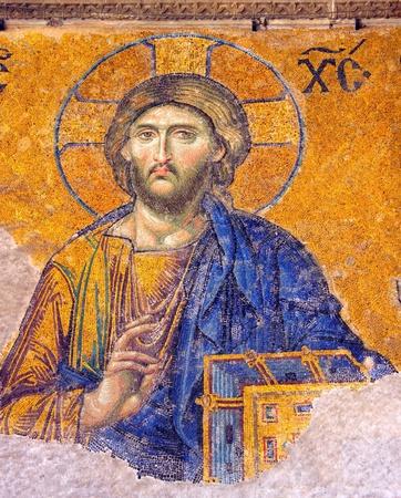 Mosaic of Jesus Christ found in Hagia Sophia in Istanbul, Turkey.