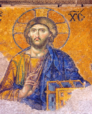 Mosaic of Jesus Christ found in Hagia Sophia in Istanbul, Turkey.