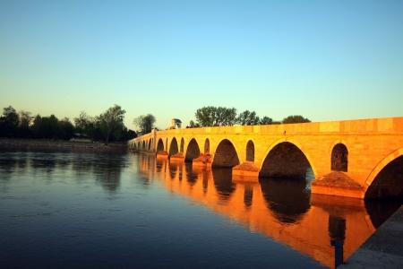 edirne: Bridge above Meric River in Edirne, Turkey  Stock Photo