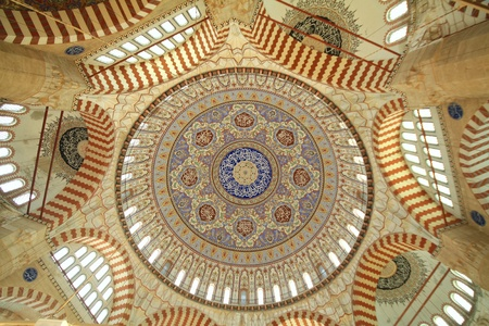 Inside of Selimiye Mosque in Edirne, Turkey