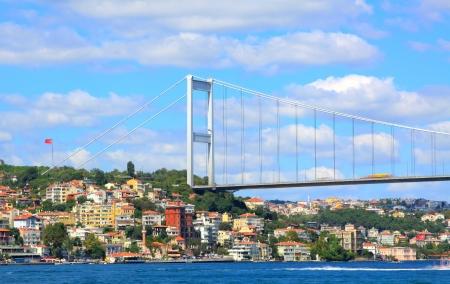 fatih: Night view of Fatih Sultan Mehmet Bridge in Istanbul, Turkey Stock Photo