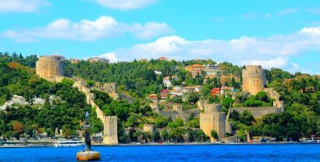 hisari: Rumeli Fortress on the bank of Bosphorus in Istanbul, Turkey