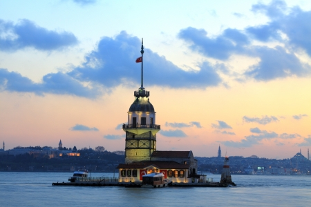 Istanbul Maiden Tower from the east in sunset  In the distance are such landmarks as Blue Mosque, Hagia Sophia and Topkapi Palace