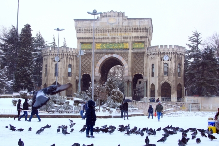 Main Gate of Istanbul University in a snowy day Editorial