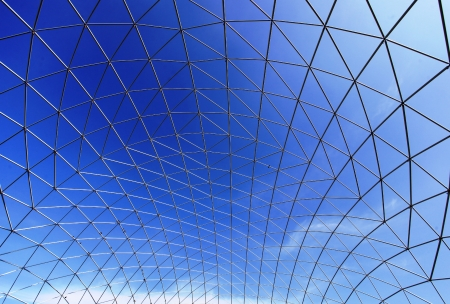 i beam: The structural steel structure against a clear blue sky in the background  Stock Photo