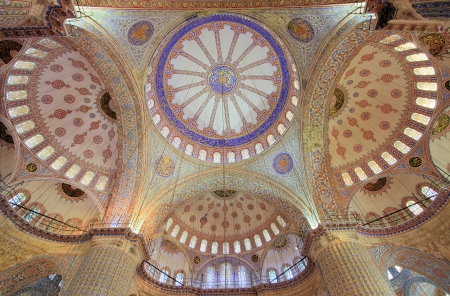 Interior of the Sultanahmet Mosque  Blue Mosque  in Istanbul, Turkey