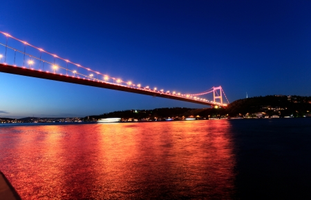 Night view of Fatih Sultan Mehmet Bridge in Istanbul, Turkey  photo