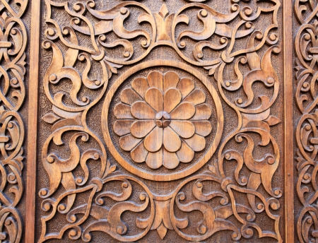 Islamic Persian design consisting stars and flowers carved on the surface of an old wooden & Islamic Persian Design Consisting Stars And Flowers Carved On ... Pezcame.Com