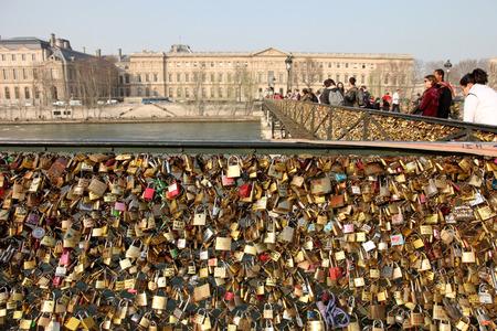 Lockers at Pont des Arts symbolize love for ever