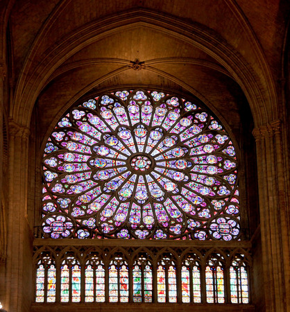 Stained Glass in Notre Dame Cathedral Paris